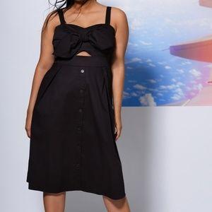 Button Front Bandeau Dress